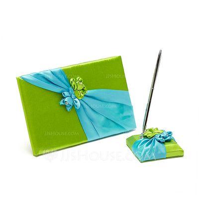 Blauw en Groen Satijn Gastenboek/pennenset (101037365)