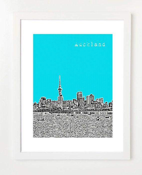 Auckland Art Print - Auckland, New Zealand Skyline Poster - City Art - 8x10