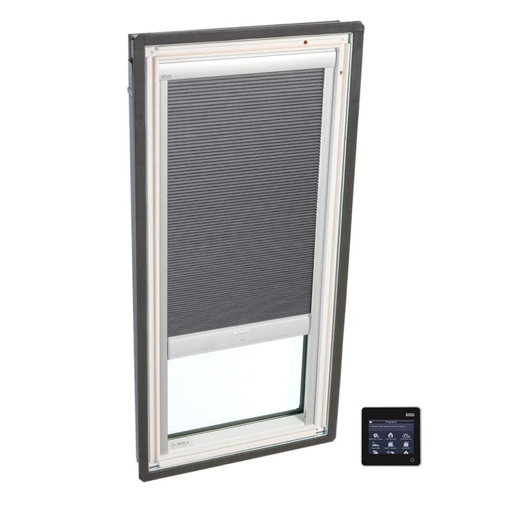VELUX 30-1/16 in. x 54-7/16 in. Fixed Deck-Mount Skylight with Tempered Low-E3 Glass, Grey Solar Powered Room Darkening Blind