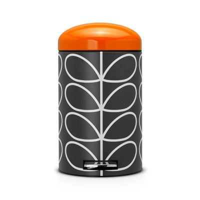 Orla Kiely | UK | House | Kitchen | Linear Stem Bin 12L (0KBINLS012) | Charcoal & Orange