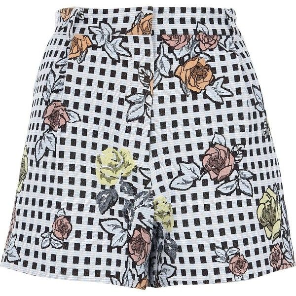 River Island Blue check floral embroidered shorts ($60) ❤ liked on Polyvore featuring shorts, blue, smart shorts, women, blue shorts, checkered shorts, tall shorts, river island and jacquard shorts