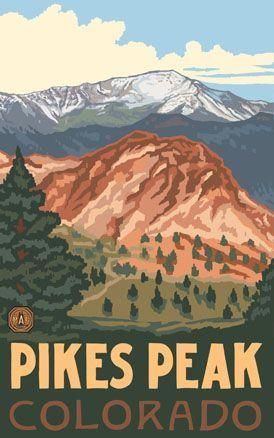 Pikes Peak #Travel Poster, #ColoradoSprings, #Colorado. http://www.travelboldly.com/p/colorado.html JeromeShaw.com