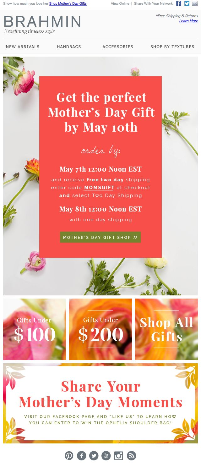 Brahmin Handbags Mother's Day Email Newsletter #email #newsletter #eblast
