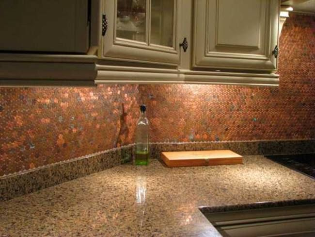 211 best images about kitchens on pinterest kitchen for Kitchen penny backsplash
