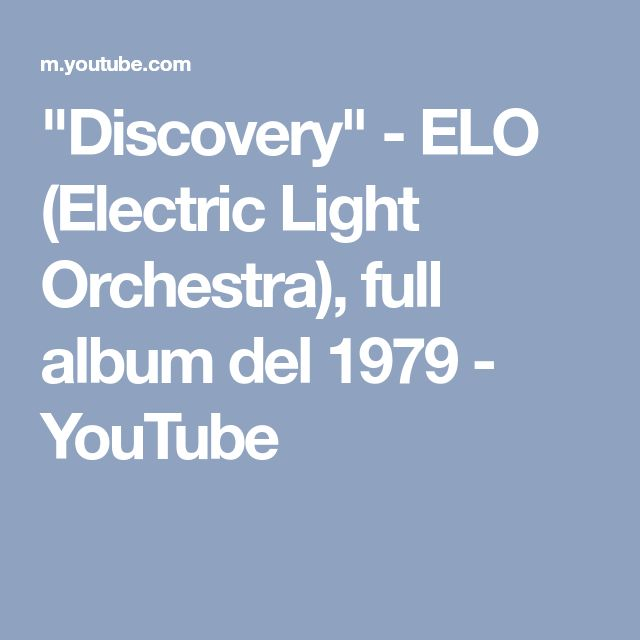 """Discovery"" - ELO (Electric Light Orchestra), full album del 1979 - YouTube #ELO"