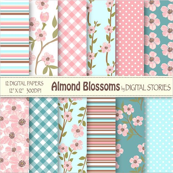 "Floral Digital Paper: 'ALMOND BLOSSOMS"" Blossoms Floral Pink Turquoise Blue Digital Scrapbook Paper for invites, cards - Buy 2 Get 1 Free"