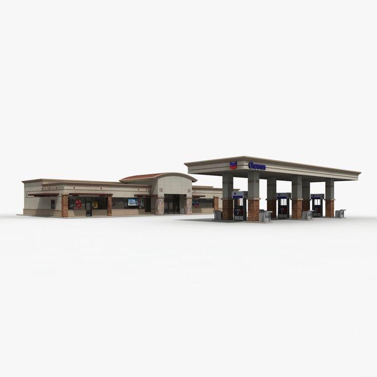 3D Model Of Chevron Gas Station Convenience Store - 3D Model