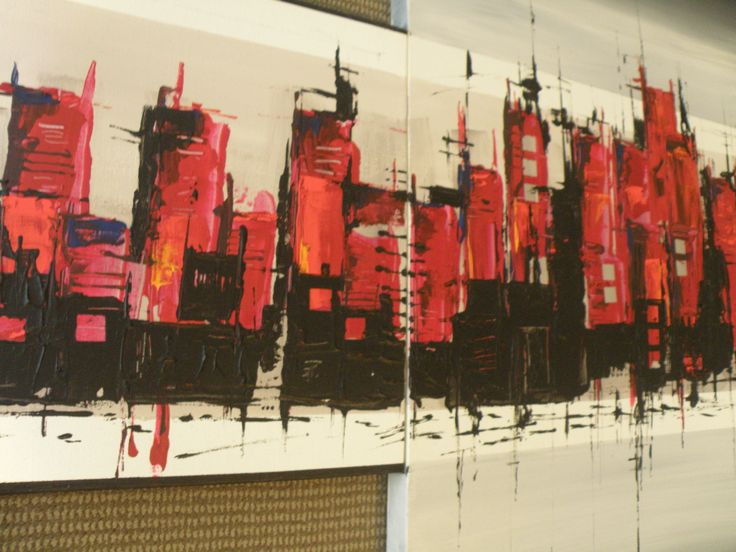 City Scape - Acrylic and gesso on canvas