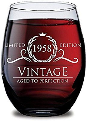 Amazon 1958 60th Birthday Gifts For Women And Men Wine Glass