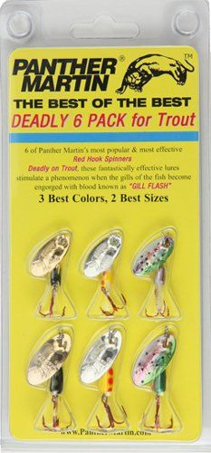 Santas Tools and Toys Workshop: Sports: Panther Martin Best of the Best Red Hook Spinner Fishing Lure Kit, Pack of 6
