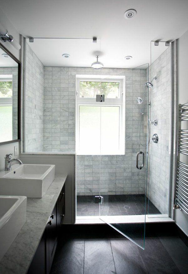 salle de bains grise, cabine de douche cosy et claire et double vasque