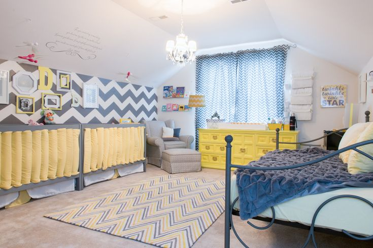 Chevron Accent Wall in Twins Nursery - #grayandyellow #nursery: Grayandyellow Nurseries, Twin Girls, Nurseries Gray, Grayandyellow Chevron, Chevron Nurseries, Nursery Gray, Projects Nurseries, Chevron Accent Walls, Baby Rooms
