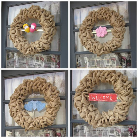 Interchangeable Wreath. Burlap Buble Wreath for All Seaons by RedbirdCountryDecor