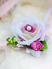 Wedding Flowers Hand-tied Roses Wrist Corsages Wedding Party/ Evening Cotton Silk – USD $ 6.00