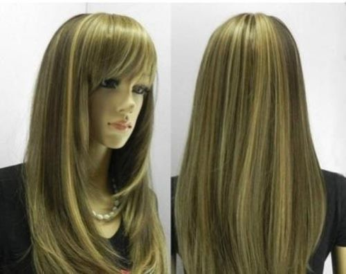 Charming Long Brown Mix Woman Wig Wigs For Women+Wig Cap