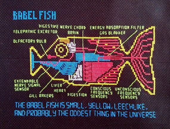 This pattern is the Babel Fish entry from Douglas Adams' 'The Hitchhikers Guide to the Galaxy', inspired by Rod Lord's animations for the 1981