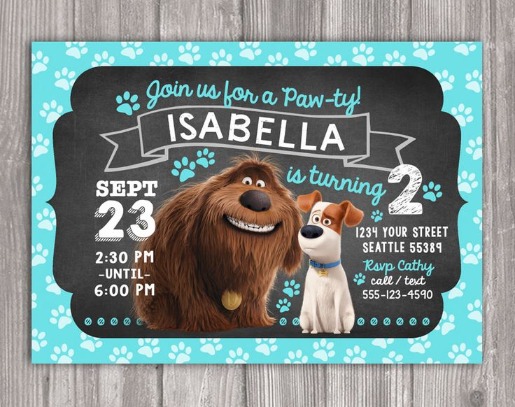 Secret Life Of Pets - Max and Duke - Invitation for Birthday Party - DIY Print Your Own - Printable Digital File by WonderAndWishes on Etsy https://www.etsy.com/listing/387039512/secret-life-of-pets-max-and-duke