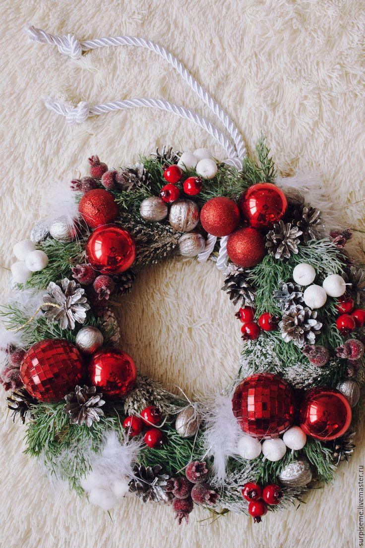 """Купить Новогодний интерьерный венок """"Пушистая классика"""" - ярко-красный, новогодний венок, новогодний подарок"""