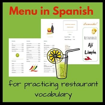 Menu in Spanish for Practicing Restaurant Vocabulary. Perfect for having your students create a skit about ordering food in Spanish or practice in the classroom!