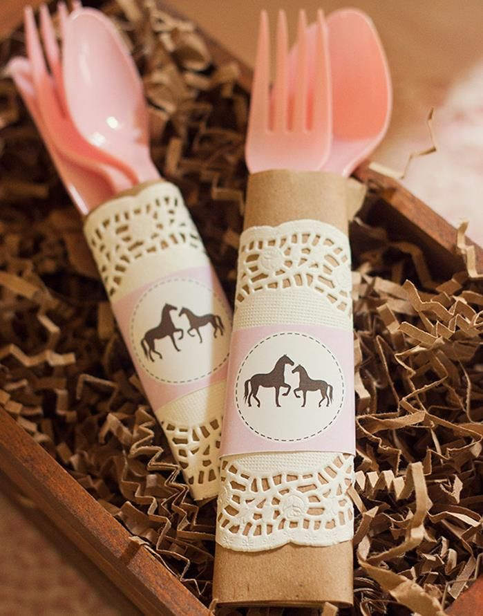 Vintage Pony Party brown paper w/ doily and print out