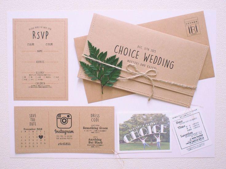 招待状のデザインはご新婦さまの希望でチケット風に。 なんと、縁は全て本物の糸で縫われているのです♡