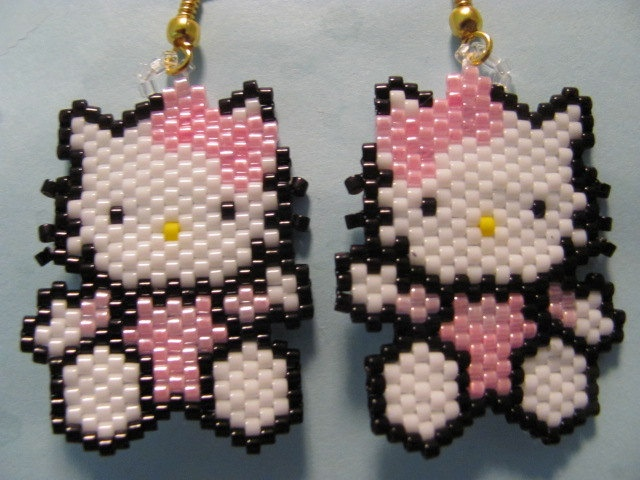 Hand Beaded Pink Hello Kitty dangling earrings by beadfairy1, $9.95
