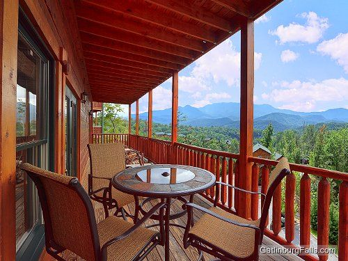 in log falls big view up a rental floor of cabin bear front gatlinburg cabins main steps named to