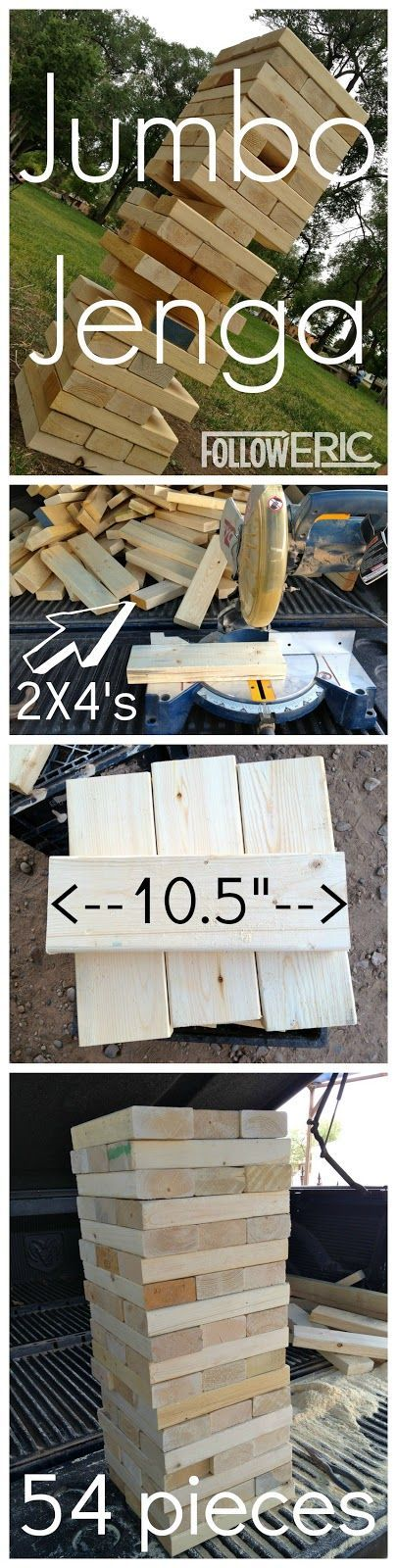 Jumbo Jenga - paint these red, white and blue and it would be perfect for a 4th of July party game!