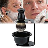 Mens Shaving Brush Set Shaving Bowl brushStand For Shave Brush Black New