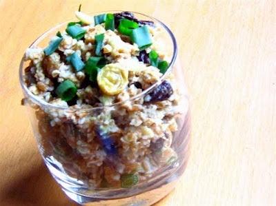 Bulgur Wheat Salad with Avocado, Raisins, and Almonds Yummmoooo