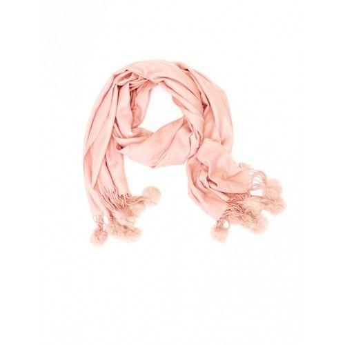 Titto Cora sjaal - Dustpink - roze sjaal met ponpons