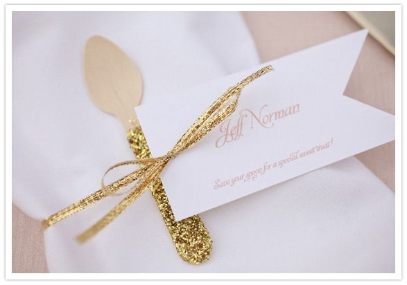 gold glitter-dipped spoon