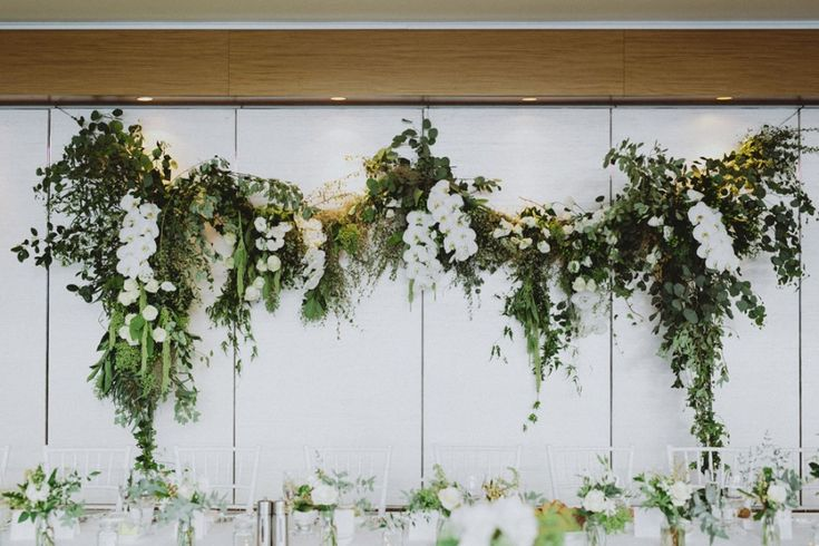 modern green and white wedding flowers | Florals by Silva