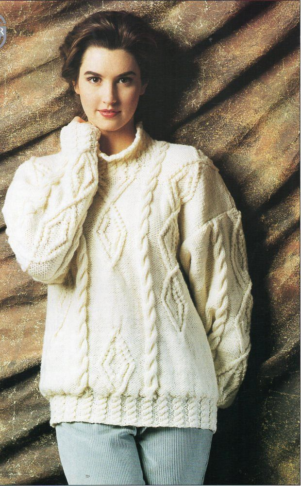 ladies aran sweater knitting pattern pdf womens cable high neck jumper Vintage 28-40 inch aran worsted 10ply Instant download by Hobohooks on Etsy