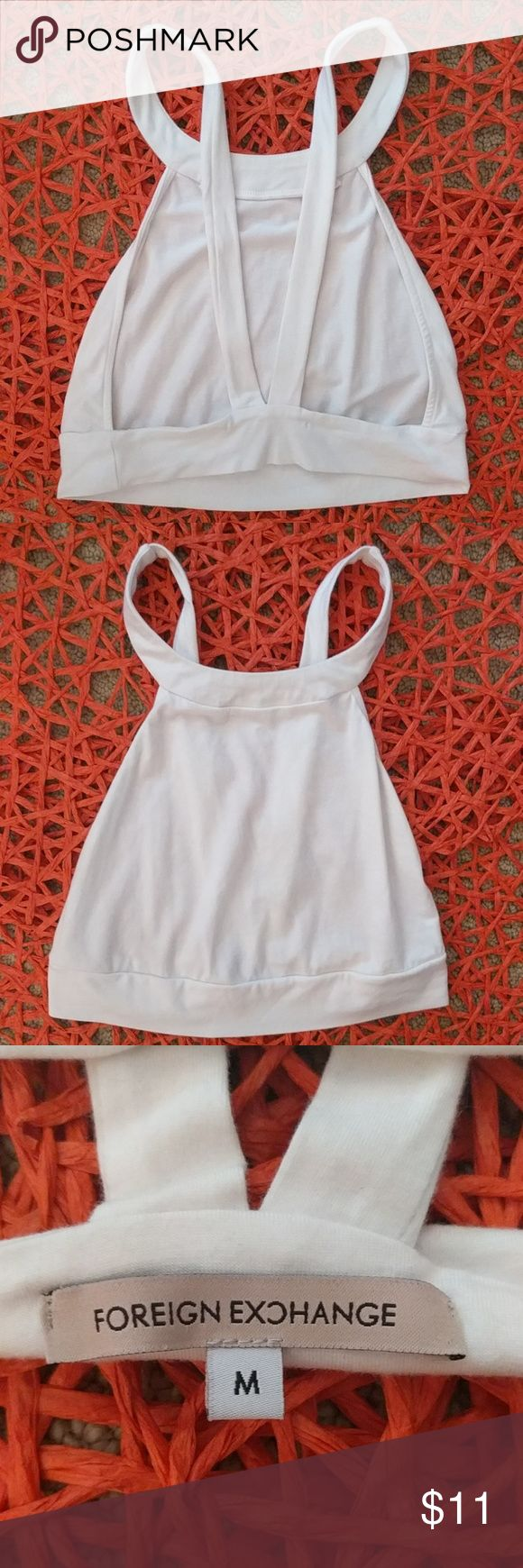Foreign Exchange white strappy crop top. Super cute white Foreign Exchange crop top with a strappy back. Perfect for the summer! Foreign Exchange Tops Crop Tops