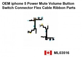 OEM iphone 5 Power Mute Volume Button Switch Connector Flex Cable Ribbon    Price : $16.50