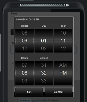 Fantastic browser based date/time picker that mimics mobile device selectors.