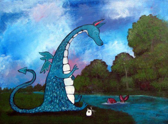 Dragon Nursery Art Children Room Decor Original Kids by andralynn