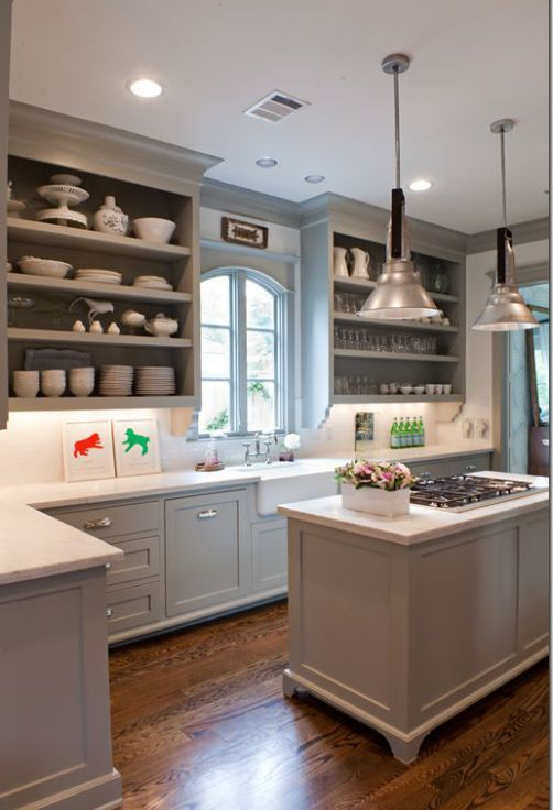 ideas to decorate a kitchen with white appliances and painted gray cabinets with white countertop