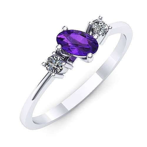 Inel de logodna din aur alb, cu ametist oval si doua diamante