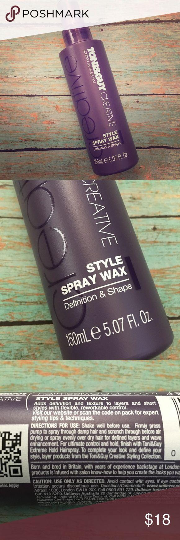 Style Spray Wax New Toni & Guy spray wax. Adds definition and texture. 5.07 Oz spray bottle. Toni & Guy Makeup