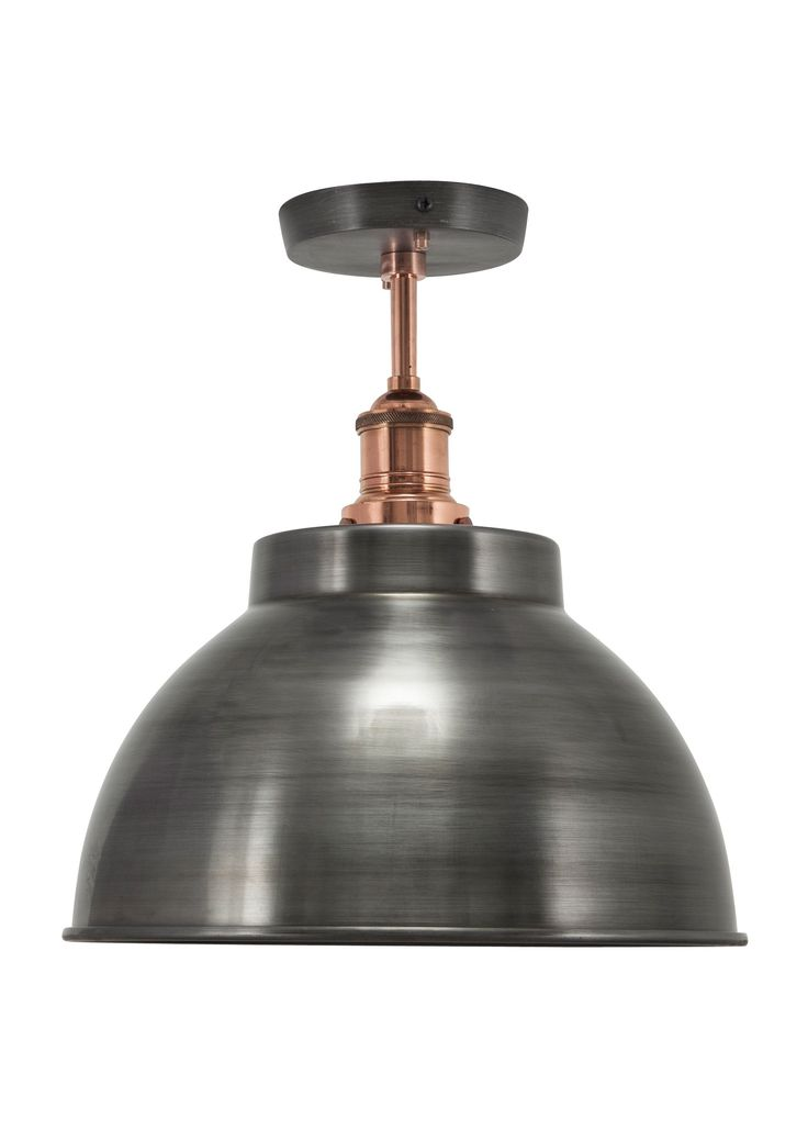 Our stylish Brooklyn Vintage Metal Dome Flush Mount Light by Industville is an antique retro styled metal lampshade in a dark pewter finish.