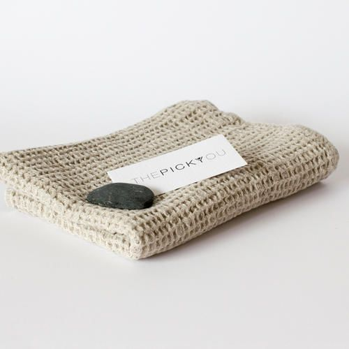 Washed Waffle Linen Natural Towel   by THEPICKYOU