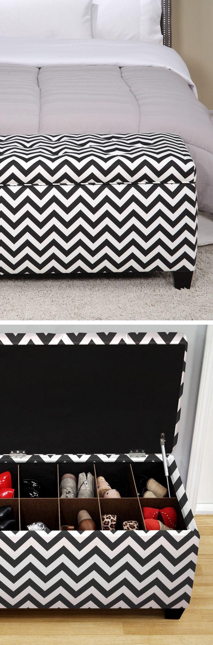 Chevron zig zag shoe storage ottoman bench // Perfect for bedroom or hall organization.