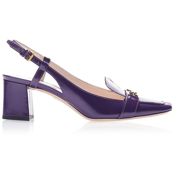 Purple Leather Sandal   Moda Operandi (775 CAD) ❤ liked on Polyvore featuring shoes, sandals, leather sandals, retro style shoes, thick heel shoes, wide heel sandals and purple sandals