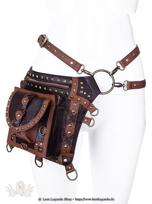 Brown studded holster bag Steampunk Tasche: Steampunk Holster  Belt made of vega…