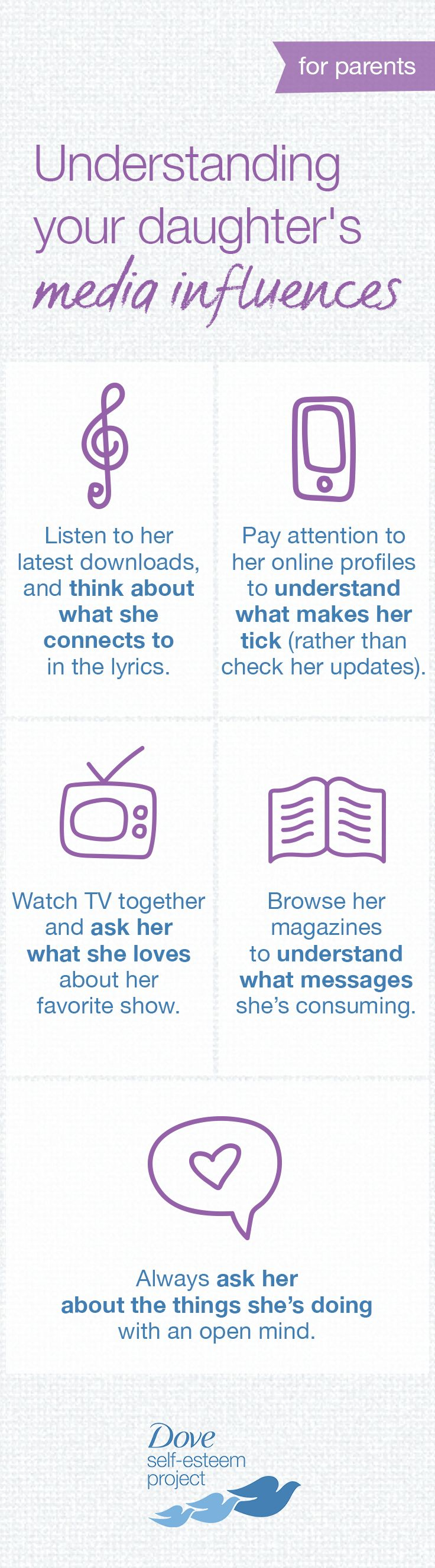 What influences a teenager today might be different from what influenced you as a girl. Rather than dismissing her world, try to embrace and understand it—after all, imagine your parents' confusion around your own teenage world. Here are pointers to help learn more about your daughter's realities and keep an open line of communication. For more info—head to www.pinterest.com/selfesteem. #SelfEsteemProject