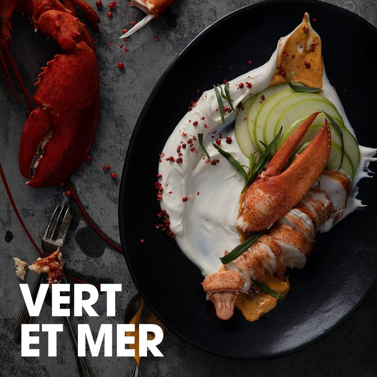 Vert et mer #crème #fraîche #homard #estragon #moutarde #pomme #poivre #recette #recevoir