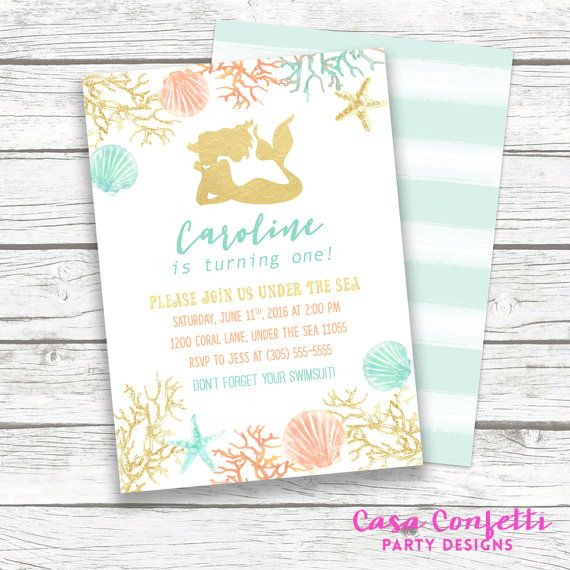 46 best Under the Sea Opening Gala images on Pinterest Watercolor - fresh invitation birthday simple