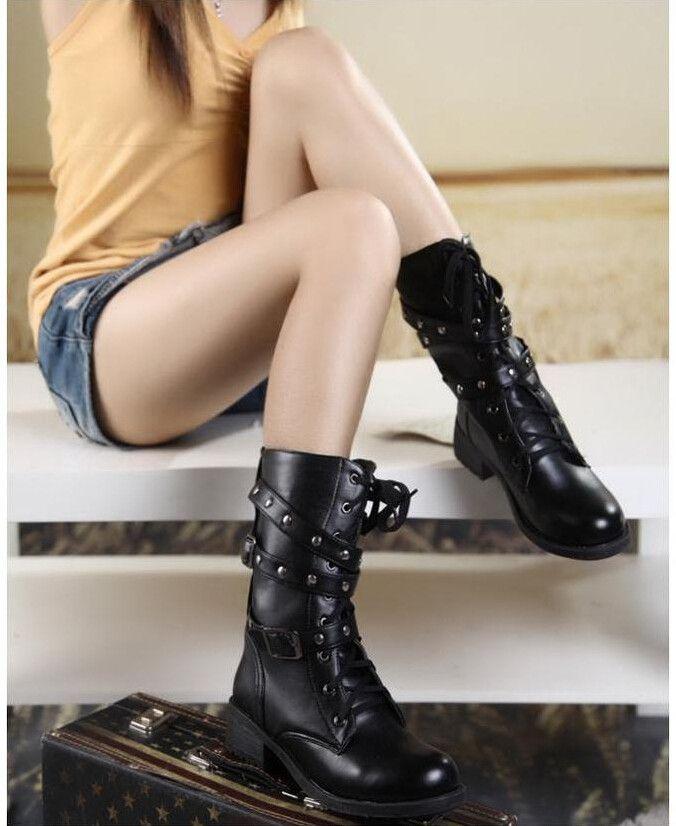 Effgt 2017 мотоботы Женские винтажные военные сапоги на осень женские армейские ботинки в готическом стиле и стиле «панк» Для женщин Байкер искусственная кожа полусапожки купить на AliExpress